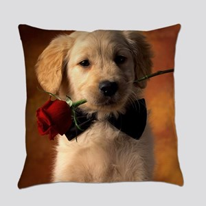 Cute Puppy With Rose Everyday Pillow