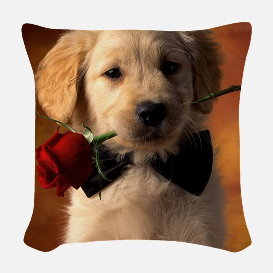 Cute Puppy With Rose Woven Throw Pillow