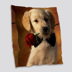 Cute Puppy With Rose Burlap Throw Pillow