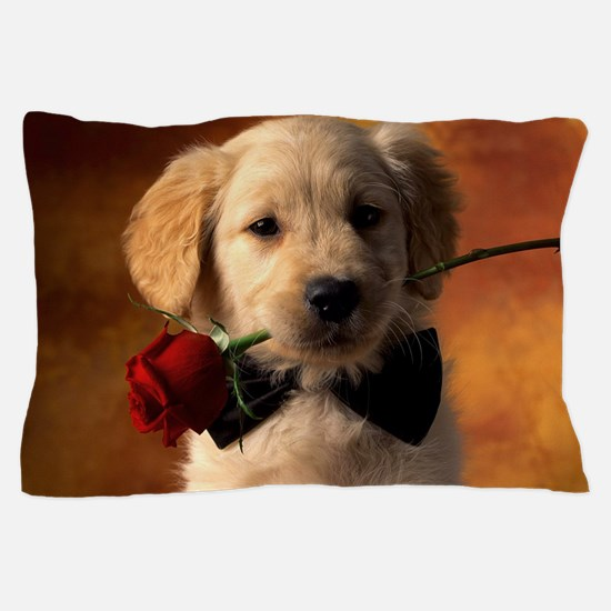 Cute Puppy With Rose Pillow Case