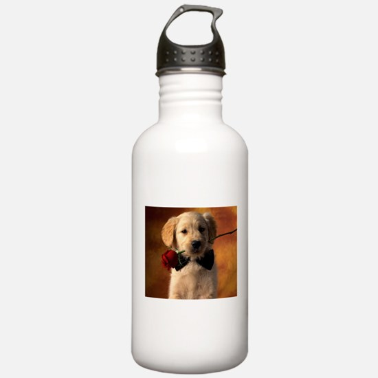 Cute Puppy With Rose Sports Water Bottle