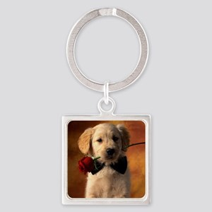Cute Puppy With Rose Keychains