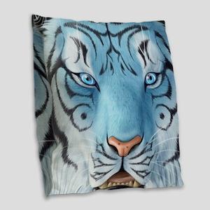 Fantasy White Tiger Burlap Throw Pillow