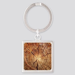CROSS SECTION OF AN OLD TREE Square Keychain