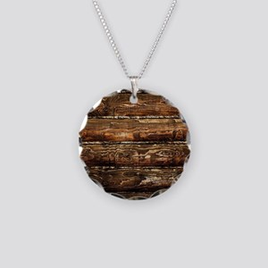 DARK STAINED WOOD WALL Necklace Circle Charm