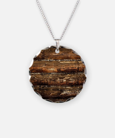 DARK STAINED WOOD WALL Necklace