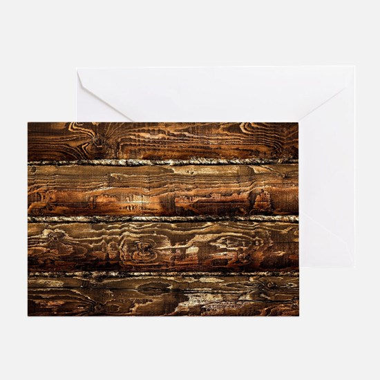 DARK STAINED WOOD WALL Greeting Card