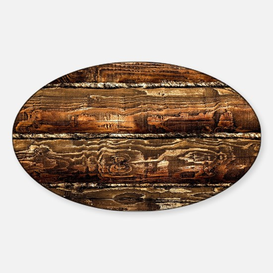 DARK STAINED WOOD WALL Sticker (Oval)