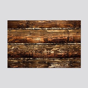 DARK STAINED WOOD WALL Mini Poster Print