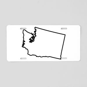 Washington State Outline Aluminum License Plate