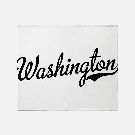 Washington Script Black Throw Blanket