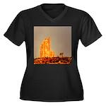Monument Valley Women's Plus Size V-Neck Dark T-Sh
