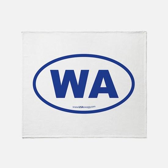 Washington WA Euro Oval BLUE Throw Blanket