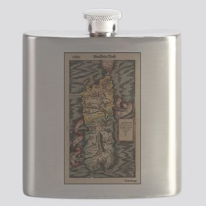 Vintage Map of Sardinia Italy (16th Century) Flask
