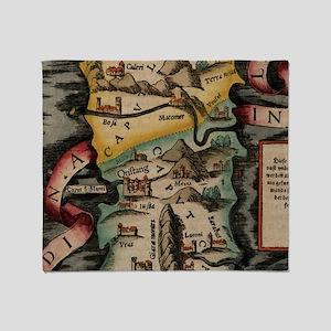 Vintage Map of Sardinia Italy (16th Throw Blanket