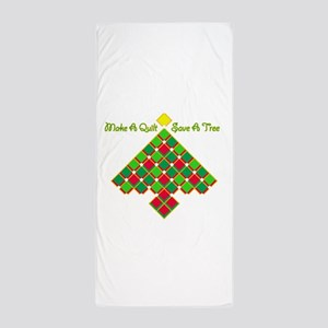 xmas treesave quilt gold clear Beach Towel