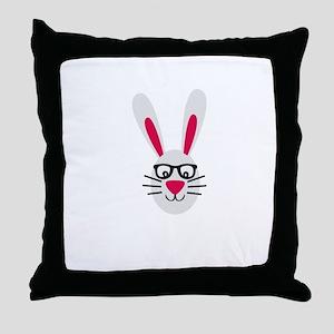 Nerd Rabbit Throw Pillow