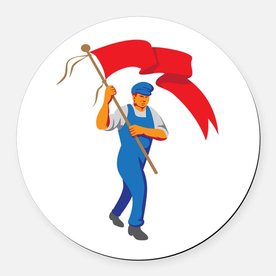 Worker Marching Flag Bearer WPA Round Car Magnet