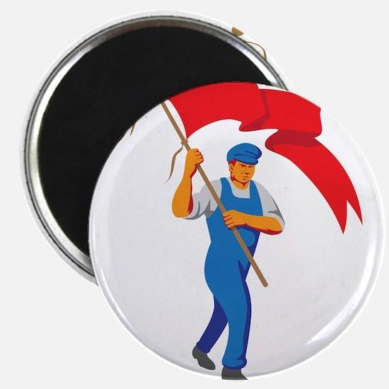 Worker Marching Flag Bearer WPA Magnets