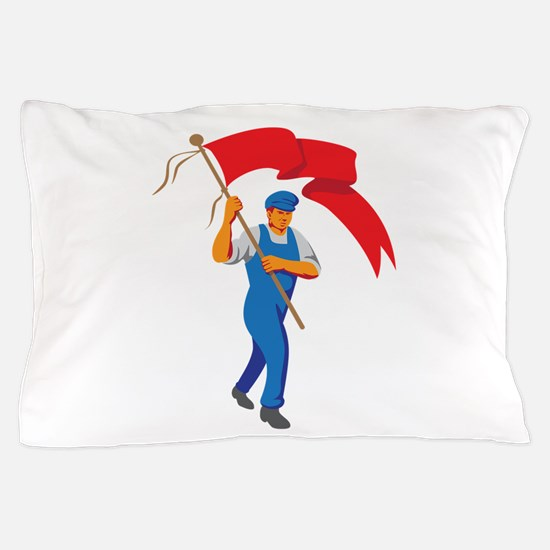 Worker Marching Flag Bearer WPA Pillow Case
