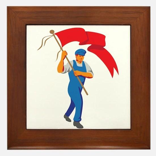 Worker Marching Flag Bearer WPA Framed Tile