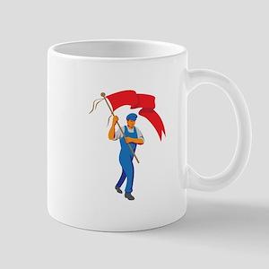 Worker Marching Flag Bearer WPA Mugs