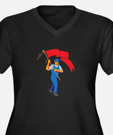 Worker Marching Flag Bearer WPA Plus Size T-Shirt