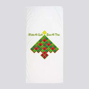 xmas treesave quilt nb gold clear Beach Towel