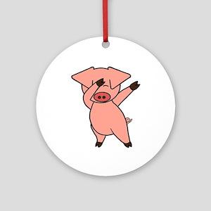 Dabbing Pig Round Ornament