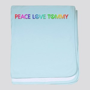 Peace Love Tommy baby blanket
