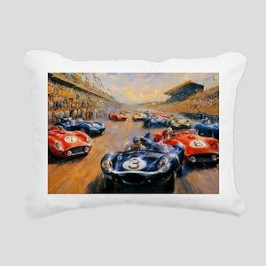 Vintage Car Race Painting Rectangular Canvas Pillo