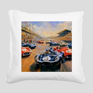 Vintage Car Race Painting Square Canvas Pillow