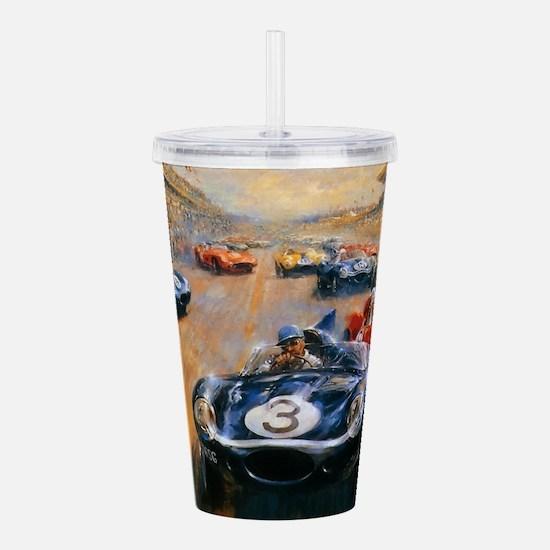 Vintage Car Race Painting Acrylic Double-wall Tumb