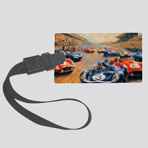Vintage Car Race Painting Large Luggage Tag