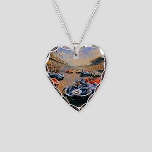 Vintage Car Race Painting Necklace Heart Charm