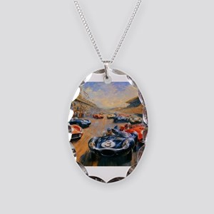 Vintage Car Race Painting Necklace Oval Charm