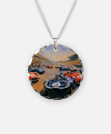 Vintage Car Race Painting Necklace