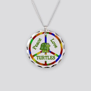 Peace Love Turtles Necklace Circle Charm