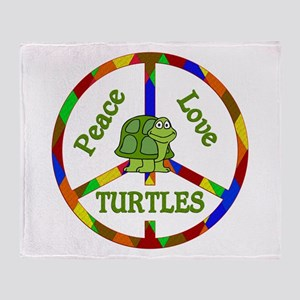 Peace Love Turtles Throw Blanket