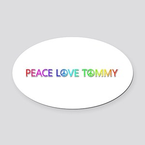 Peace Love Tommy Oval Car Magnet