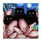 BLACK CATS LILIES Tile Coaster