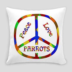 Peace Love Parrots Everyday Pillow