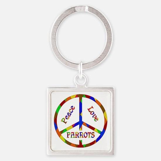 Peace Love Parrots Square Keychain