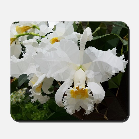 White Orchids Low Poly Floral Mousepad