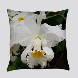 White Orchids Low Poly Floral Everyday Pillow