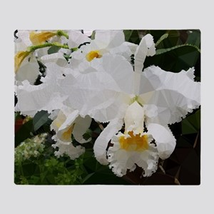 White Orchids Low Poly Floral Throw Blanket