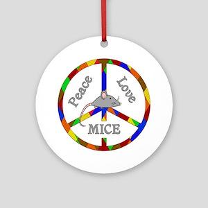 Peace Love Mice Round Ornament