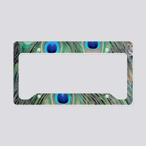 Peacock Feathers Green And Tan License Plate Holde