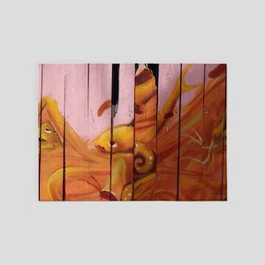 Golden Graffiti Goldfish 5'x7'Area Rug
