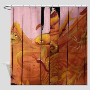 Golden Graffiti Goldfish Shower Curtain